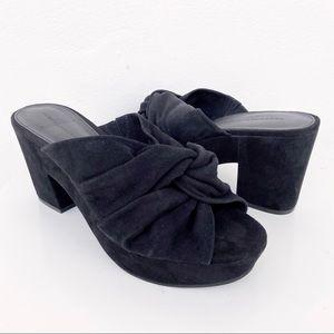 NEW Rebecca Minkoff Black Suede Twist Sandal Heels